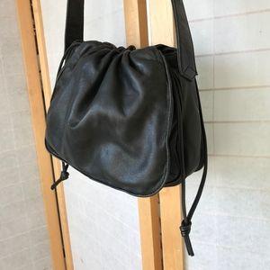 Loewe drawstring black leather shoulder bag